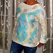 """Одежда ручной работы. Ярмарка Мастеров - ручная работа Свитер валяный """" Цветная мозаика"""" нуно). Handmade."""