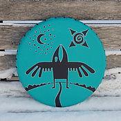 Музыкальные инструменты handmade. Livemaster - original item Raven Tambourine Vedic turquoise .. Handmade.