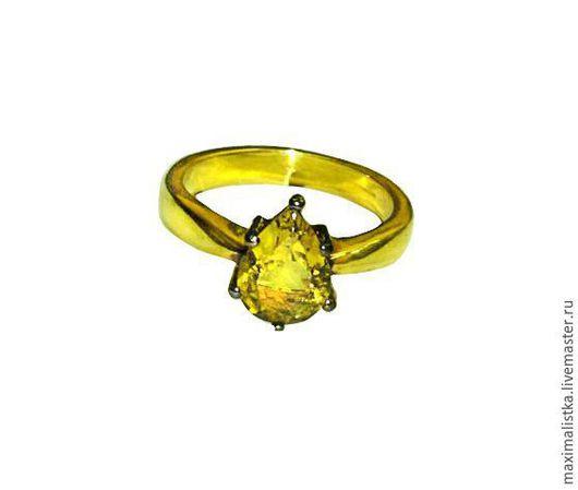 """Кольца ручной работы. Ярмарка Мастеров - ручная работа. Купить Кольцо """"Золотой луч"""" с турмалином из серебра 925 позолоченного 18К. Handmade."""
