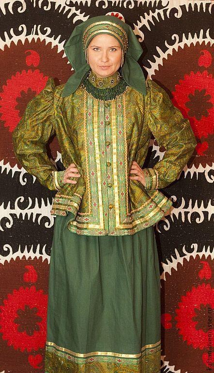 Этническая одежда ручной работы. Ярмарка Мастеров - ручная работа. Купить Северный костюм с душегреем (Зеленый). Handmade. бязь
