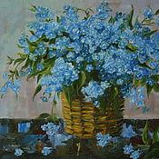 Картины и панно handmade. Livemaster - original item painting of flowers forget-me-nots in a basket. Handmade.