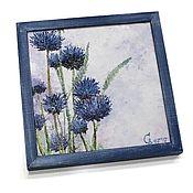"""Картины и панно ручной работы. Ярмарка Мастеров - ручная работа Картина маслом """"Синие цветы"""" в рамке. Handmade."""