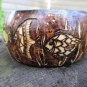 """Украшения ручной работы. Ярмарка Мастеров - ручная работа деревянный браслет в технике пирографии """"морской"""" (рыбы) (выжигание). Handmade."""