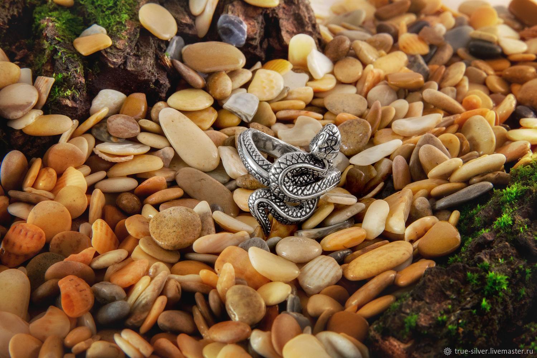 Кольцо Змея литое из серебра 925 пробы, Кольца, Москва,  Фото №1