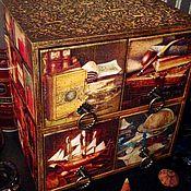 """Для дома и интерьера ручной работы. Ярмарка Мастеров - ручная работа """"Хранитель"""", мужской мини-комод, декупаж. Handmade."""