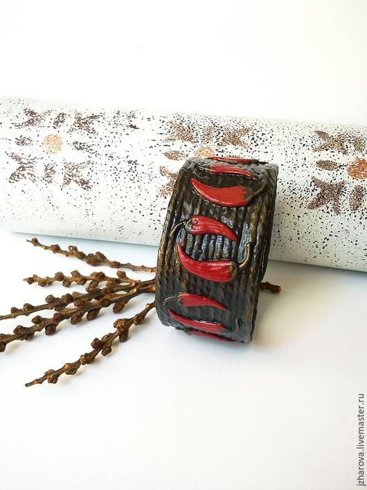 Браслеты ручной работы. Ярмарка Мастеров - ручная работа. Купить Браслет из джута Чили. Handmade. Ярко-красный, украшение перец