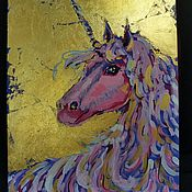 """Картины ручной работы. Ярмарка Мастеров - ручная работа Интерьерная картина """"Единорог"""". Handmade."""