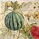 Сочные полосатые арбузы на ветках- Салфетка для декупажа Декупажная радость
