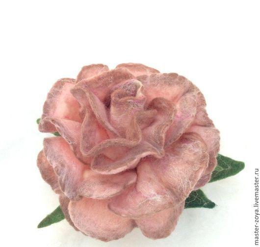 Брошь валянная роза Ковтун Зоя