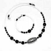 Украшения handmade. Livemaster - original item Necklace and bracelet made of natural agate and black spinel. Handmade.