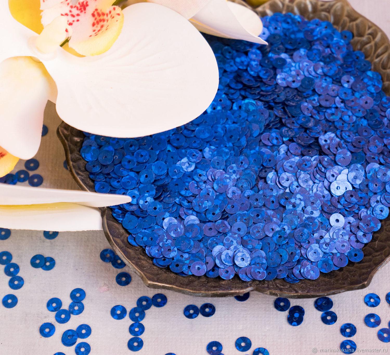 Пайетки 4мм Италия Olographic blue 1112, Материалы, Краснодар, Фото №1