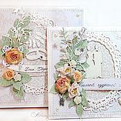 Открытки ручной работы. Ярмарка Мастеров - ручная работа Свадебная открытка бежевая в коробке. Handmade.