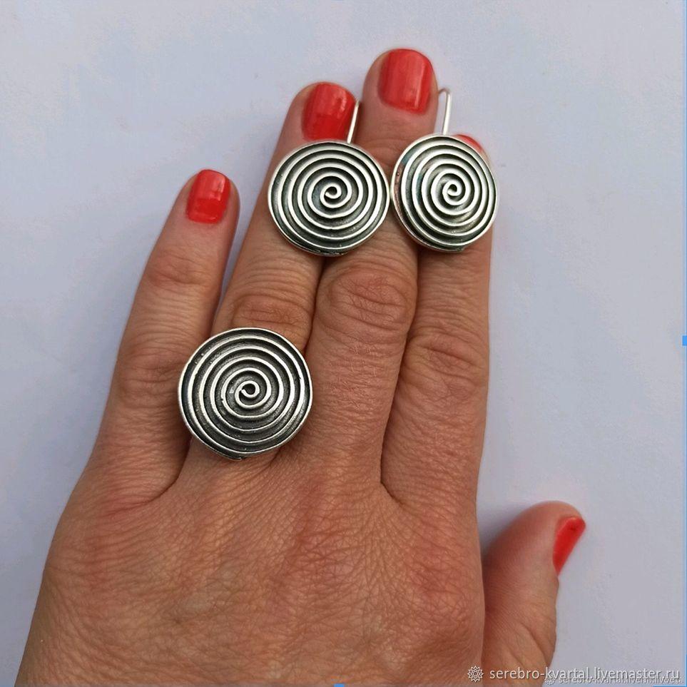 Silver Spiral Set. 925 sterling silver, Earrings, Turin,  Фото №1