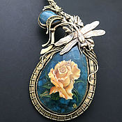 Украшения handmade. Livemaster - original item Brass loop necklace with lacquer miniature