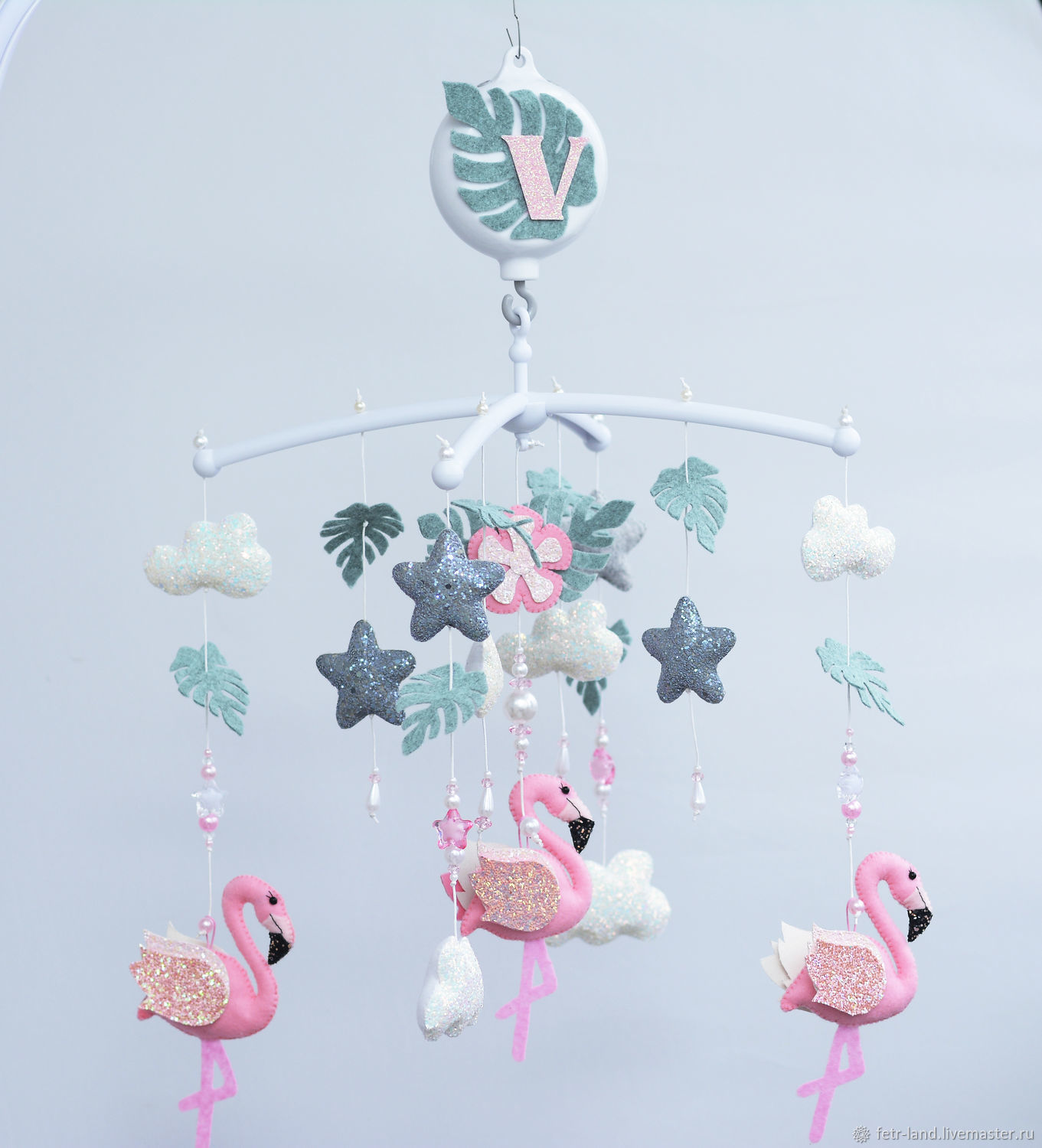 Mobiles made of felt 'Flamingo' on the crib for a girl, Toys for cribs, Belgorod,  Фото №1