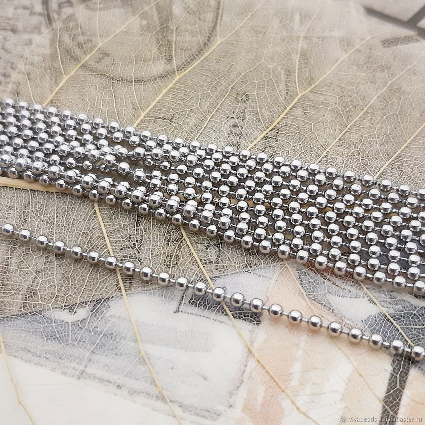 1m Chain Beads 2mm Stainless steel (3690), Chains, Voronezh,  Фото №1