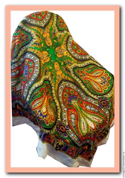 Винтажная одежда и аксессуары. Ярмарка Мастеров - ручная работа. Купить Шерстяной платок винтаж. Handmade. Комбинированный, шерстяной платок