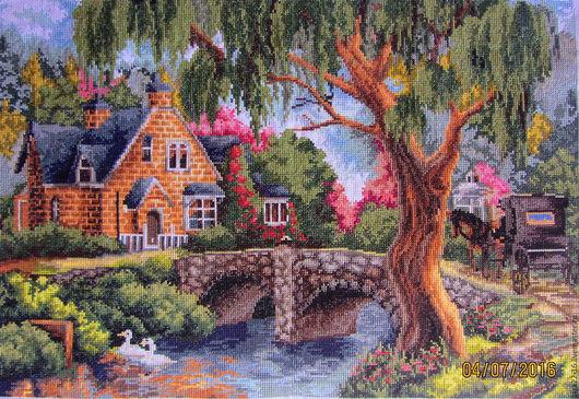 """Пейзаж ручной работы. Ярмарка Мастеров - ручная работа. Купить """"Тихий уголок"""".. Handmade. Старинный стиль, река, лебеди, карета"""