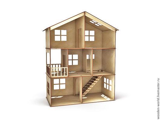 Декупаж и роспись ручной работы. Ярмарка Мастеров - ручная работа. Купить Кукольный домик 3 этажа с балконом и лесенкой. Handmade.