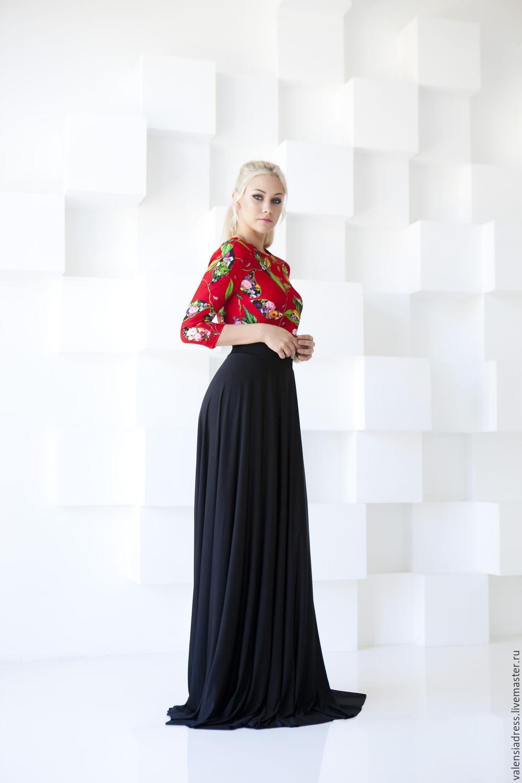 Длинная юбка с топом черным