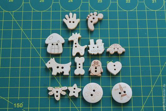 Куклы и игрушки ручной работы. Ярмарка Мастеров - ручная работа. Купить Пуговки деревянные неокрашенные, кубики с буквами. Handmade. Бежевый