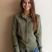 Одежда handmade. Livemaster - original item Sasha shirt, olive color. Handmade.