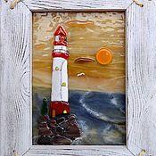 """Картины и панно ручной работы. Ярмарка Мастеров - ручная работа Картина из стекла """"Маяк"""". Handmade."""