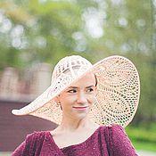 Аксессуары handmade. Livemaster - original item Knitted wide-brimmed hat PEACH HEART. Handmade.