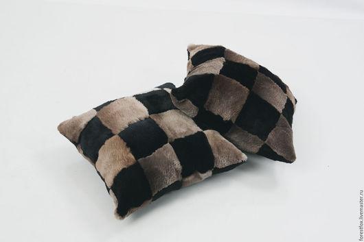 Текстиль, ковры ручной работы. Ярмарка Мастеров - ручная работа. Купить Меховая подушка из стриженого бобра. Handmade. Коричневый