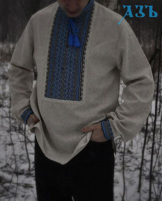 """Одежда ручной работы. Ярмарка Мастеров - ручная работа. Купить Мужская вышиванка """"Светозар"""". Handmade. Серый, рубаха в русском стиле"""