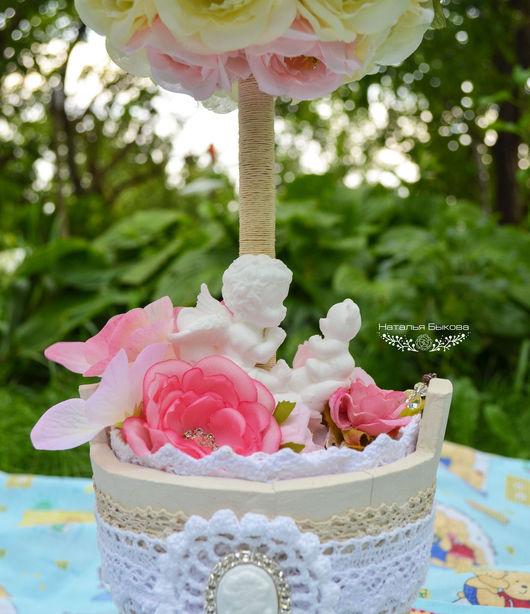 Топиарии ручной работы. Ярмарка Мастеров - ручная работа. Купить топиарий «Ангел в розовых цветах». Handmade. Розовый, Дерево счастья