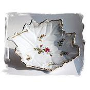Винтаж ручной работы. Ярмарка Мастеров - ручная работа Фарфоровая конфетница или салатник Германия в виде листа с розами. Handmade.