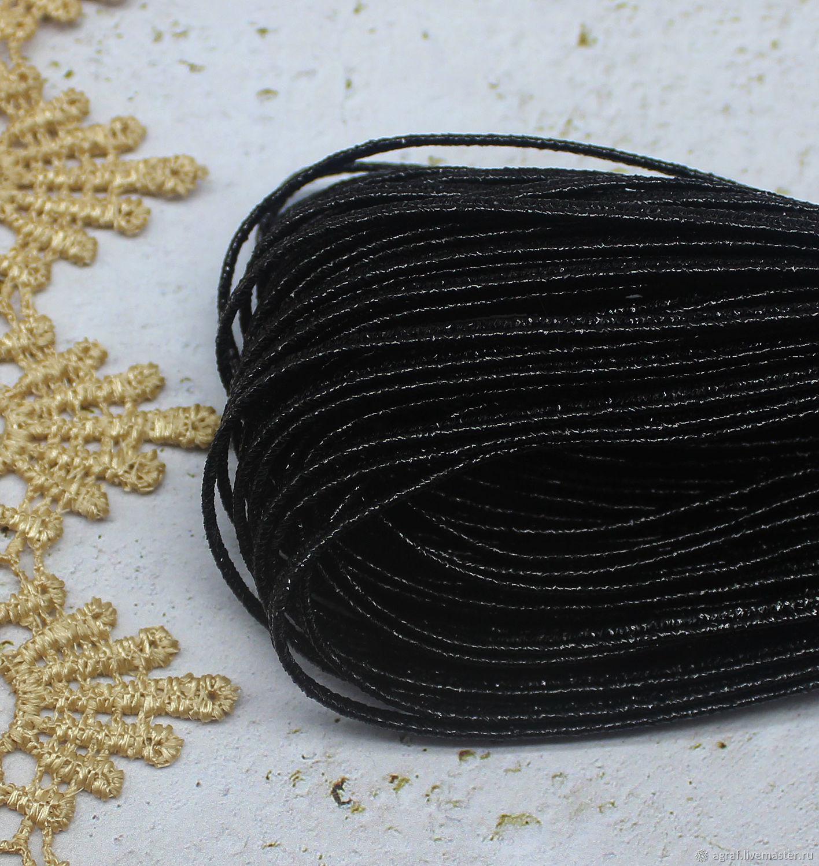 Сутаж белорусский 1,9  мм Черный металлизированный 1 метр, Шнуры, Соликамск,  Фото №1