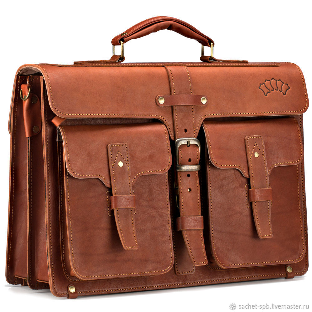 Leather briefcase 'Miron' (red), Brief case, St. Petersburg,  Фото №1