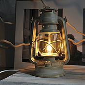 Настольные лампы ручной работы. Ярмарка Мастеров - ручная работа Керосиновая лампа электрическая ночник для дачи, дома винтажная айвори. Handmade.