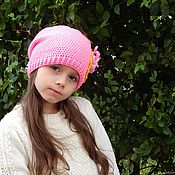 Аксессуары handmade. Livemaster - original item Cap pink, crochet for girls. Handmade.