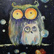 """Картины и панно ручной работы. Ярмарка Мастеров - ручная работа Картина в детскую """"Смешные цветные совы"""". Handmade."""