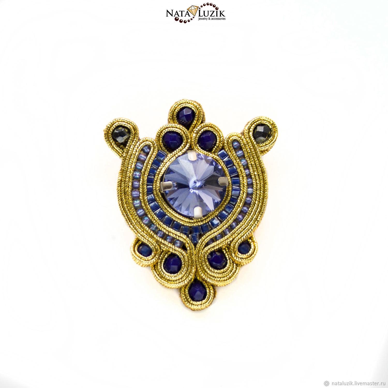 Soutache brooch gold Swarovski lilac `Royal spaces`
