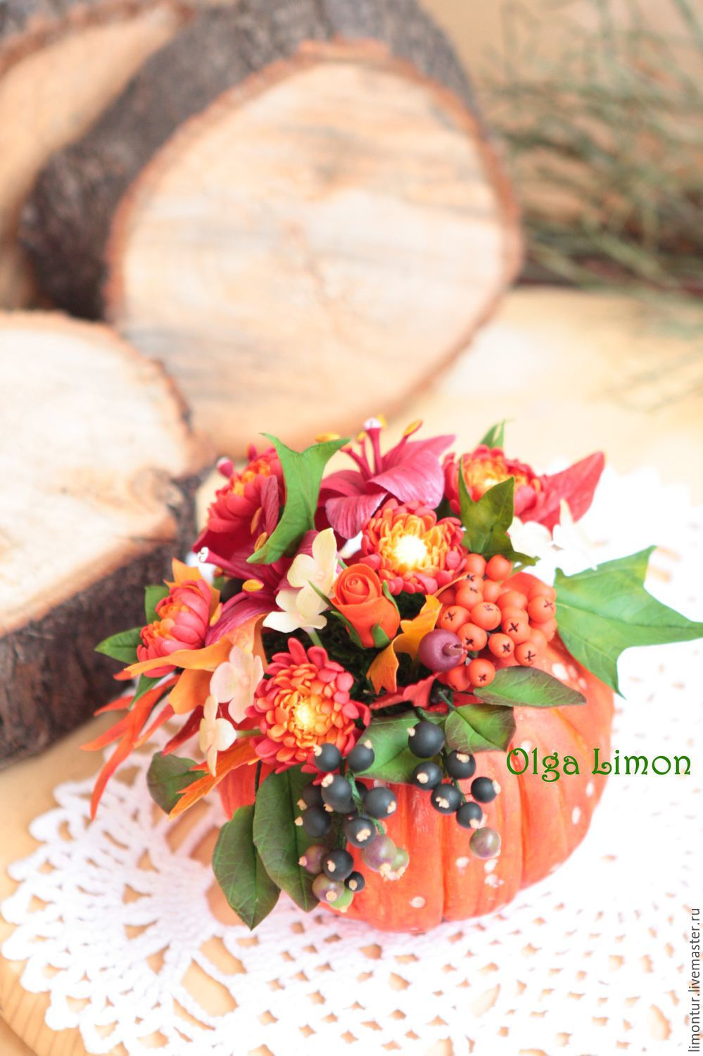 Pumpkin with flowers (all handmade!!), Composition, Moscow,  Фото №1