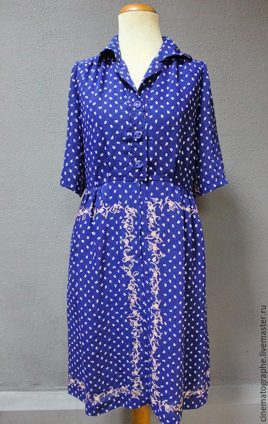 Одежда. Ярмарка Мастеров - ручная работа. Купить Платье Rock Amon винтаж. Handmade. Тёмно-синий, винтажное платье, лён
