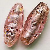 Материалы для творчества ручной работы. Ярмарка Мастеров - ручная работа Бусины крупные  Lampwork розовые 36х14 мм. Handmade.