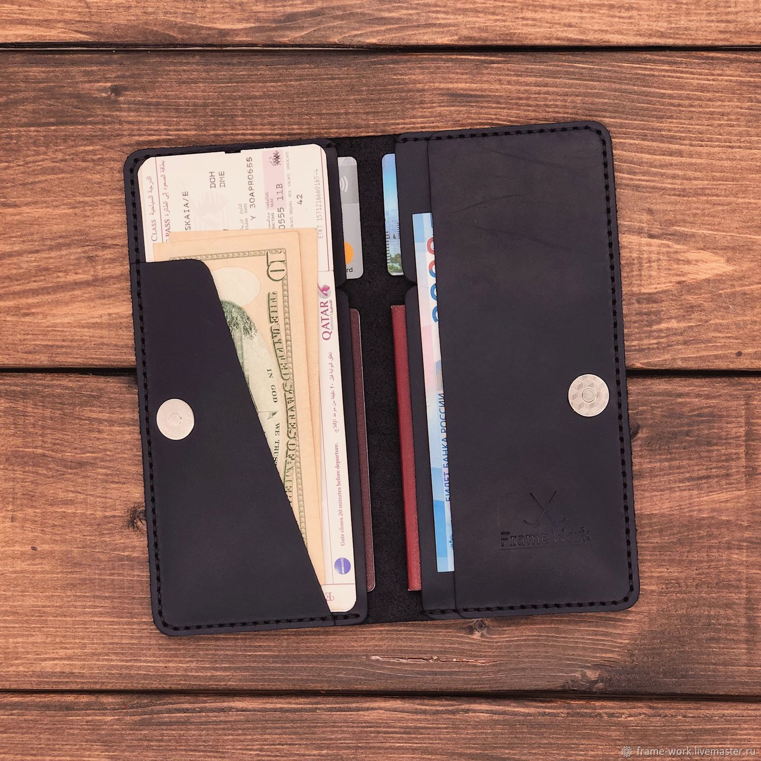 Travel holder for 2 passports made of leather, Organizer, Moscow,  Фото №1
