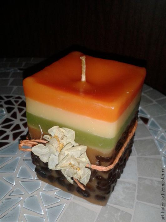 """Свечи ручной работы. Ярмарка Мастеров - ручная работа. Купить Ароматическая свеча """"Кофейно-апельсиновый десерт"""". Handmade. Свеча, экостиль"""