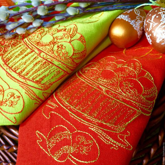 """Текстиль, ковры ручной работы. Ярмарка Мастеров - ручная работа. Купить Салфетка Пасхальная столовая """"Лайм и мандарин"""". Handmade."""
