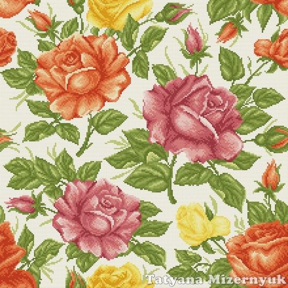 Вышивка крестом подушек розы