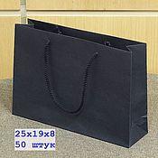 Пакеты ручной работы. Ярмарка Мастеров - ручная работа 25х19х8 - 50 пакетов бумажных синих с ручками веревочными. Handmade.