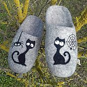 Обувь ручной работы handmade. Livemaster - original item Women`s felted Slippers About Kote. Handmade.