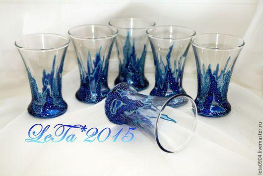 """Бокалы, стаканы ручной работы. Ярмарка Мастеров - ручная работа. Купить Стопки """"Айсберг"""", набор 6 штук. Handmade. Синий"""