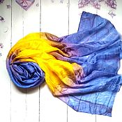 Аксессуары handmade. Livemaster - original item Stole when violets bloom silk. Handmade.