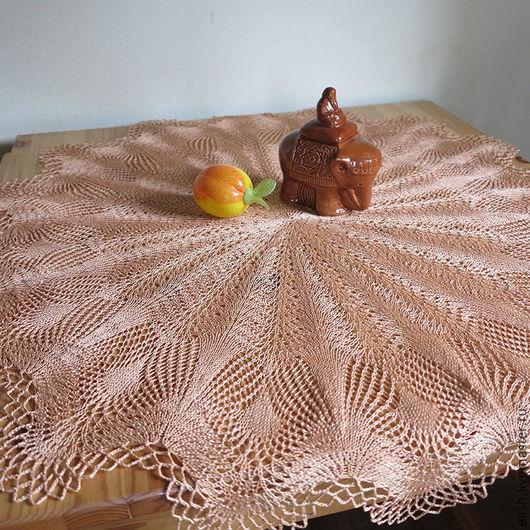 Текстиль, ковры ручной работы. Ярмарка Мастеров - ручная работа. Купить Салфетка Павлиний хвост. Handmade. Бежевый, хлопок 100%